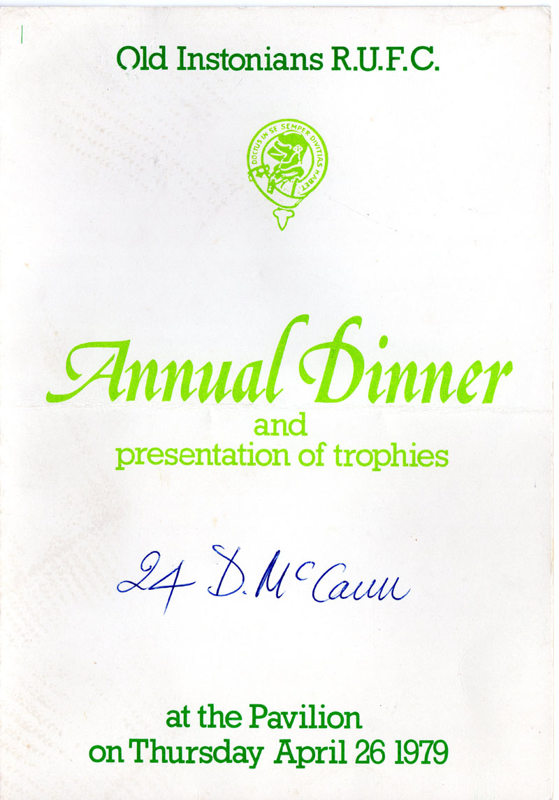 Menu from 1979 Annual Dinner