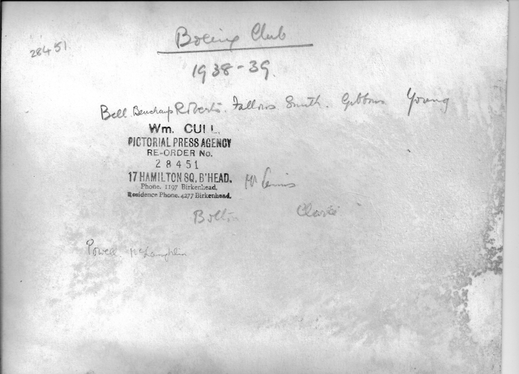 Reverse of School Boxing Club 1938/39 photograph