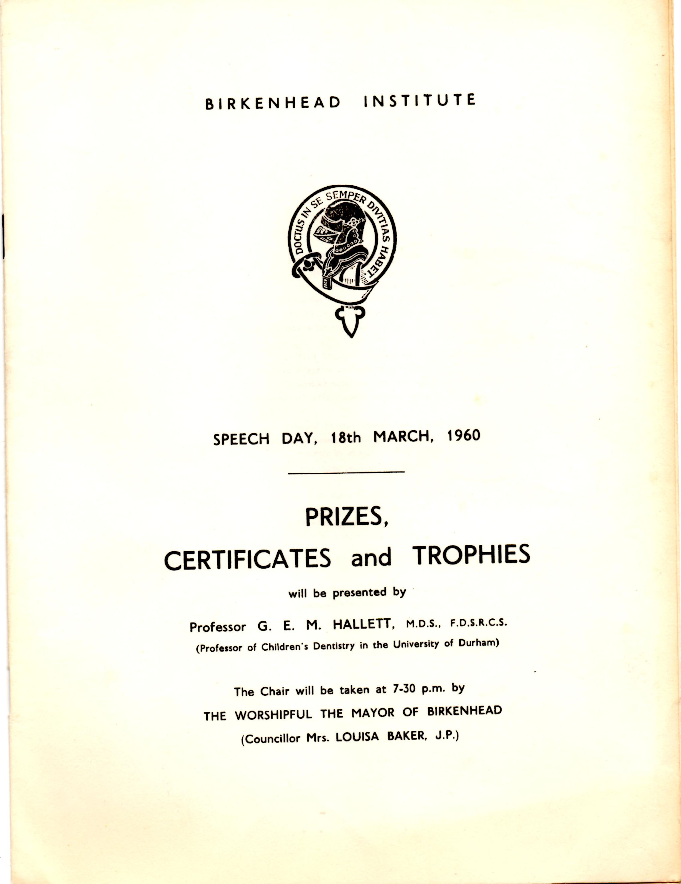 Program for Speech Day 1960
