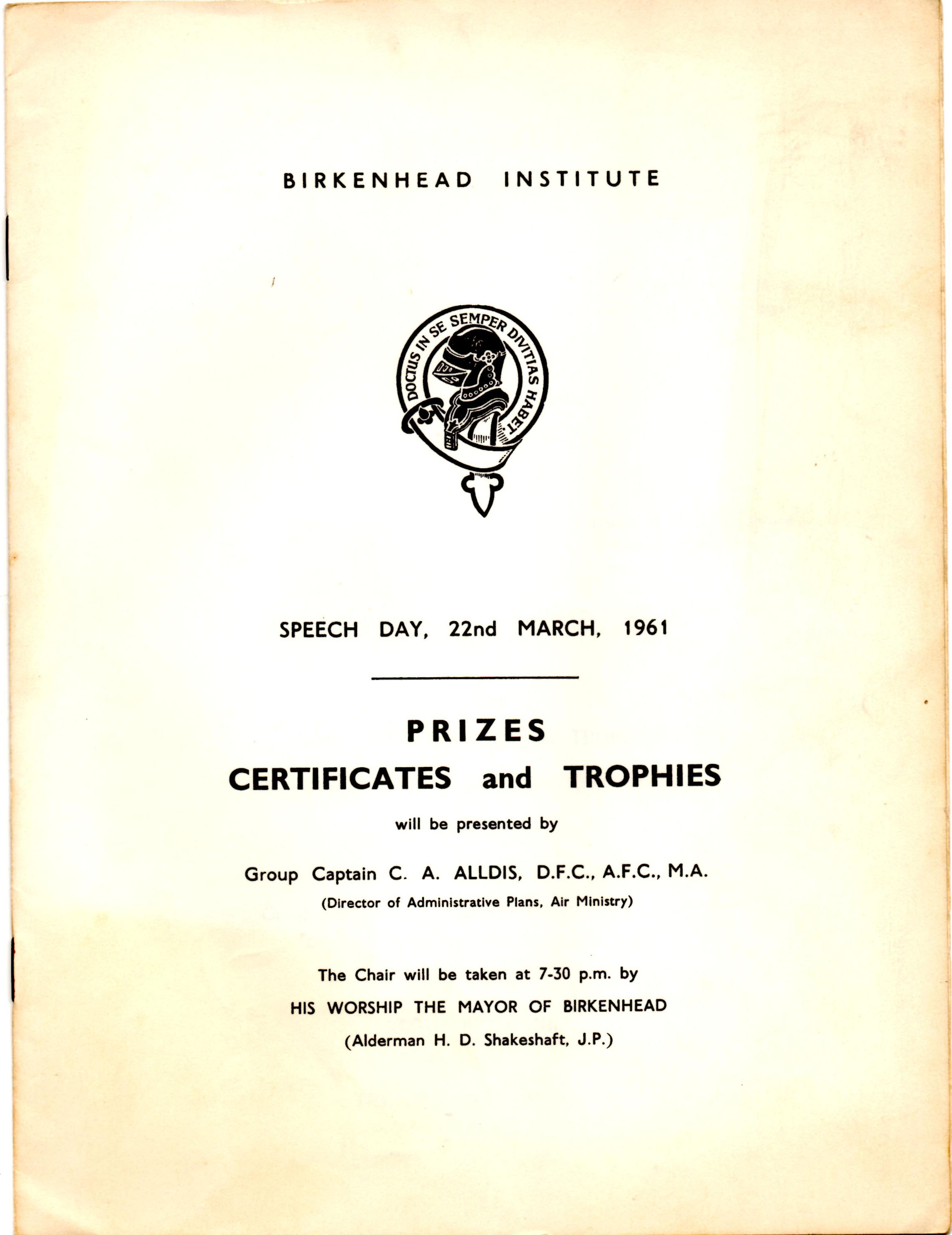 Program for Speech Day 1961